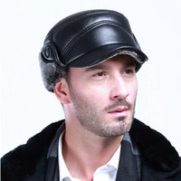 Man 2017 New Winter Warm Real Sheep Leather Protect Ear Style Black Hat Cap