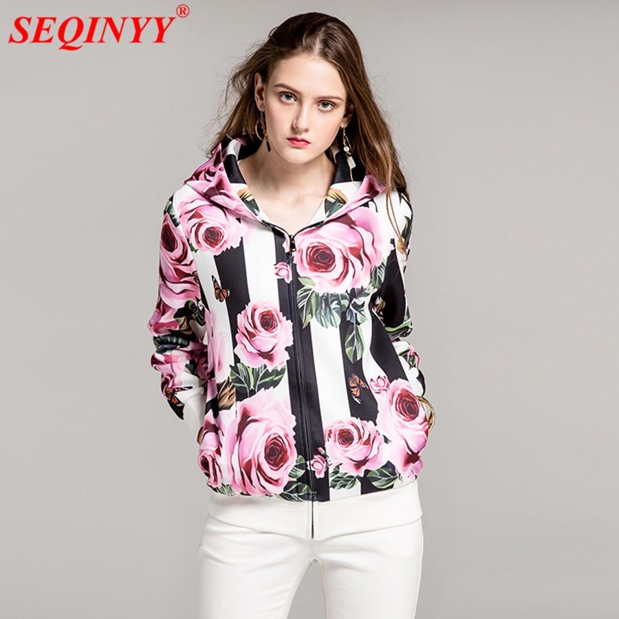 SEQINYY Hoodies Jacket 2017 New Fashion Runway Long Sleeve Zipper Big Size Black Stripe Pink Flower White Autumn Women's Jacket laundry by shelli segal new red long sleeve zipper jacket 2 $149 dbfl