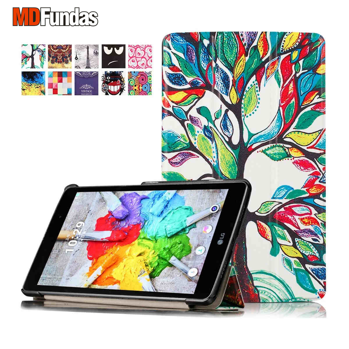 MDFUNDAS For LG G Pad III 8.0 V525 / G Pad X 8.0 V520 V521 Tablet Case Colorful Printing Cover Flip PU Leather Coque Stand Skin