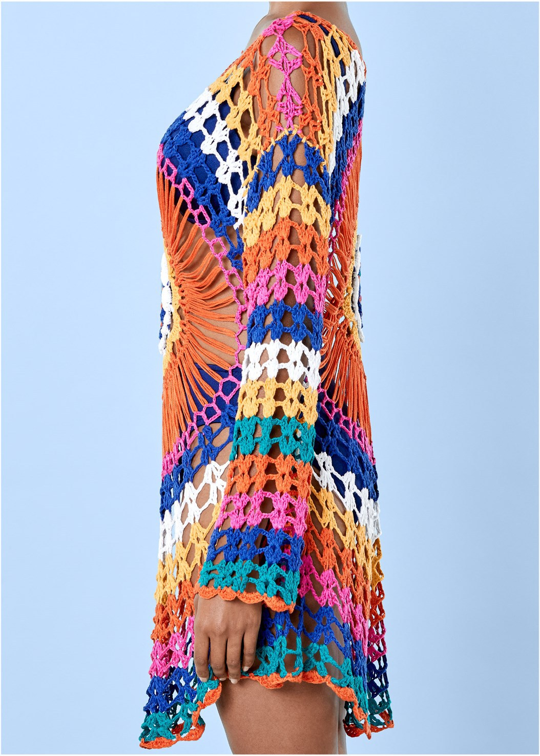 a7eeac1fdb1ce Summer Swimsuit Women Beach Cover Up Hollow Out Crochet Rainbow Bathing  Suit Beach Sarongs Cover Ups Swimwear Beach Dress Tunic-in Cover-Ups from  Sports ...