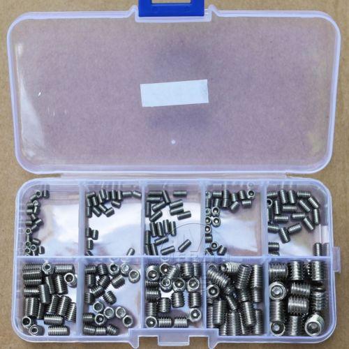 200pcs 304 Stainless Steel M3-M8 Hex Socket Set Grub Screw Assortment kit 200pcs set stainless steel hex socket set screw grub screws cup point assortment kit m3 m8 with plastic box