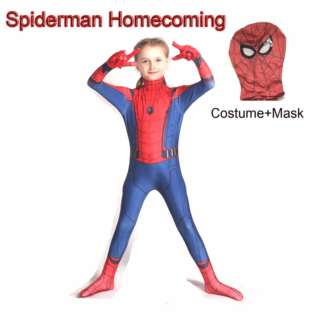 Spider Man Homecoming Cosplay Costume Kids Child Adult Tom Holland Spiderman Mask Suit Halloween Costumes For Men Boy
