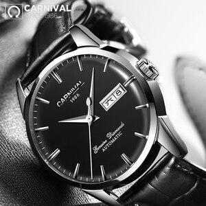 Image 5 - KARNAVAL erkek Öz rüzgar Lüks mekanik saatler Suya Dayanıklı Otomatik Klasik Deri Bilek İzle Erkekler Reloj Hombre