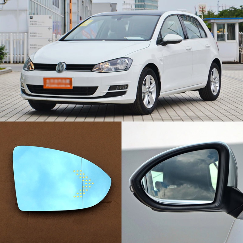 For Volkswagen Golf 6 Brand New Car Rearview Mirror Blue Glasses LED Turning Signal Light with Heating for volkswagen sagitar brand new car rearview mirror blue glasses led turning signal light with heating