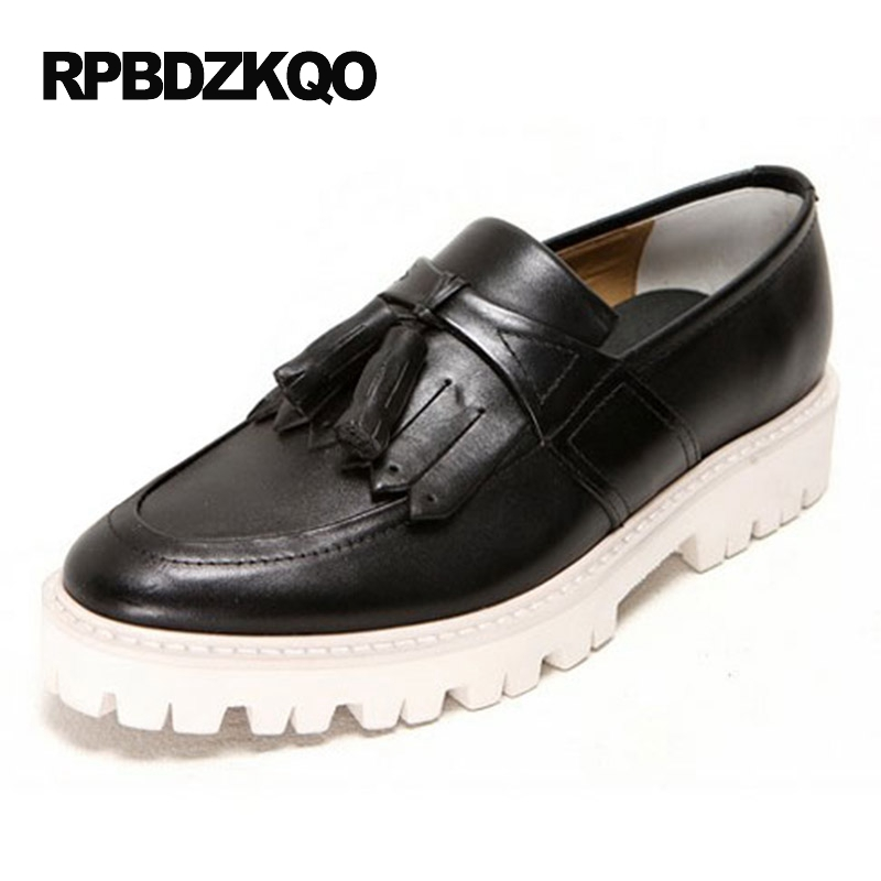 Real Leather Black Creepers Rubber Sole Men Tassel Fashion Brown Platform British Casual Shoes Loafers European Genuine Hot Sale black real leather 2017 mules summer brown european loafers men genuine shoes moccasins half male casual slip ons hot sale