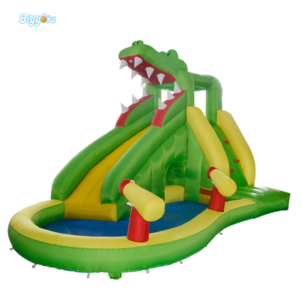 Home Used Children Water Slide For Children Water Park Inflatable Toys Crocodile Inflatable Slide with Water Pool for Kids popular best quality large inflatable water slide with pool for kids