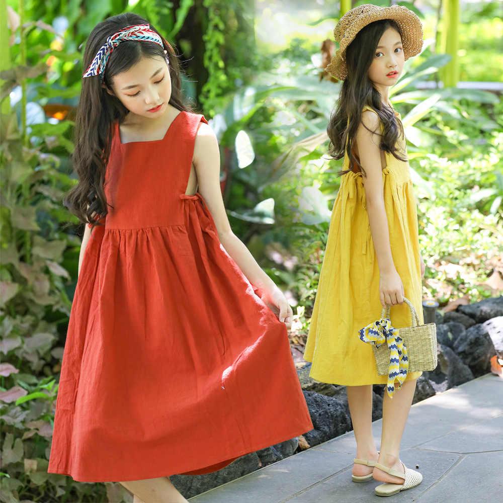 45f0638d9682a Loose Baby Princess Dress Summer 2019 Cotton and Linen Kids Dresses for  Girls Children Vest Dress Teenager Toddler Clothes,#5042