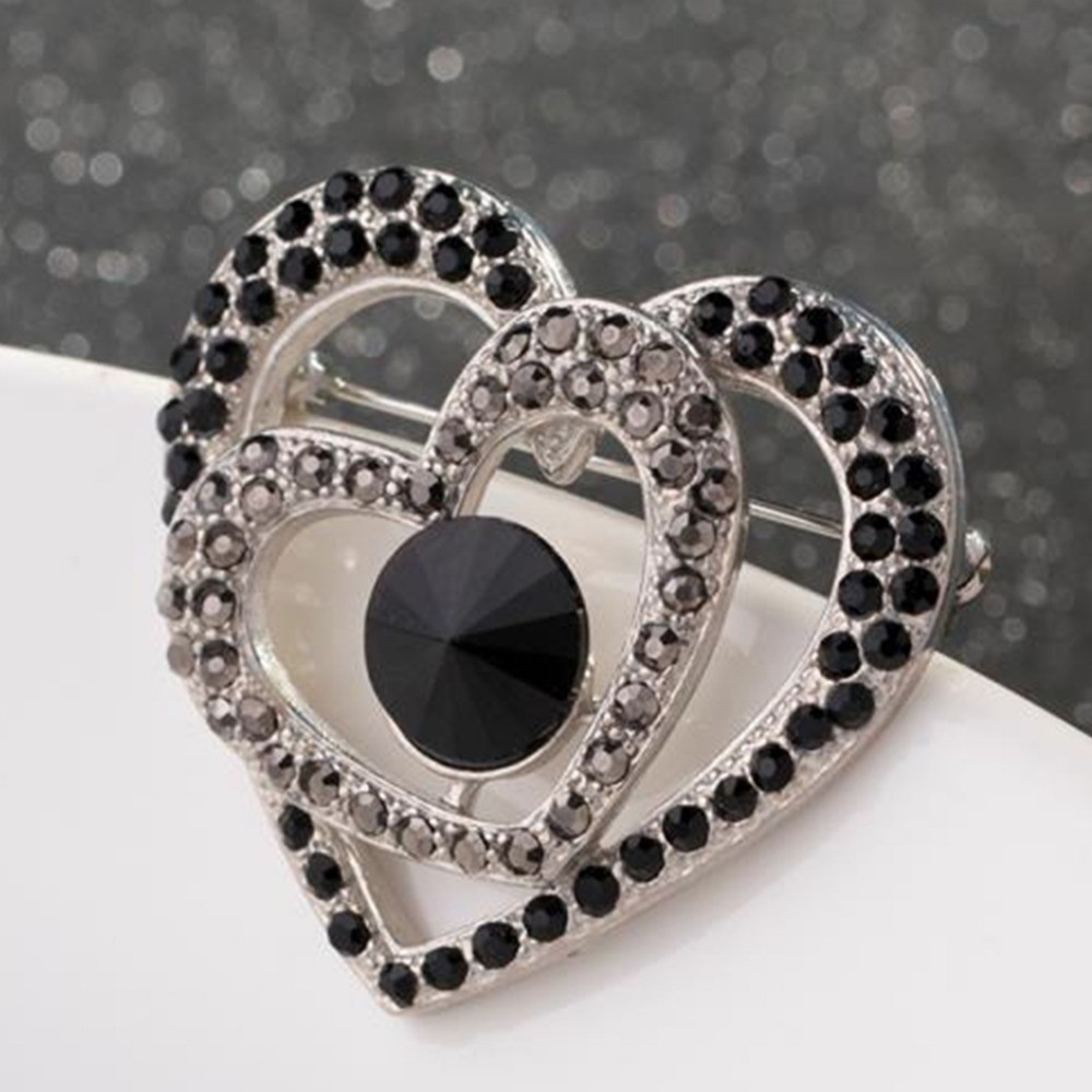 1 Pc Women Jewelry Wedding Brooches Lovely Crystal Double Heart Design Large Collar Brooch Bouquet Pin