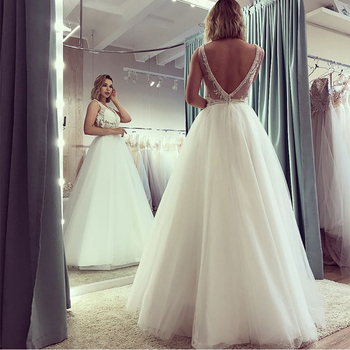 Sexy A-line Wedding Dresses V-neck Illusion Bodice White Ivory Simple Full Length Bridal Dress Backless Long Robe De Mariee 2019