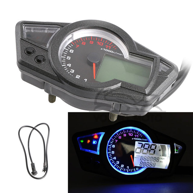 Universal 1000rpm/min KMH/MPH LCD Display Digital LED Speedometer Odometer 1-6 Cylinders ODO TRIP Gauge for Sport Bike Racing