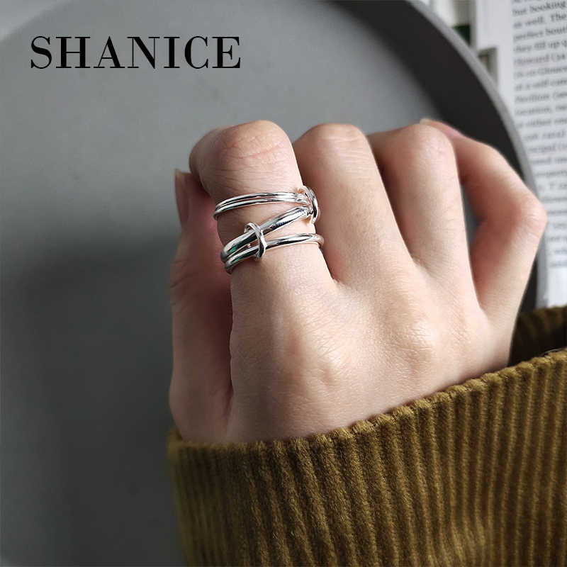 SHANICE INS Korean 925 sterling silver ring Heavy Industry Geometric Multi-circle Lines Bijoux Femme Engagement Ring Accessories