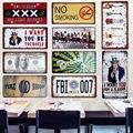 América del FBI 007 coche de Metal placa de licencia decoración Vintage para el hogar signo Tin Bar Pub de garaje de Metal decorativo arte placa 15x30 cm A278