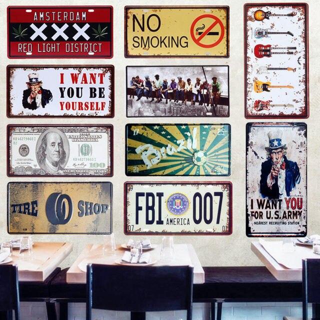 America FBI 007 Auto In Metallo Targa Arredamento D'epoca di Latta Bar Pub Garag