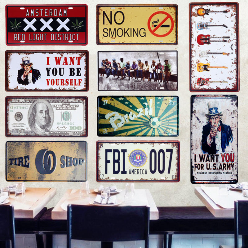 America FBI 007 Car Metal License Plate Vintage Home Decor Tin Sign Bar Pub Garage Decorative Metal Sign Art Plaque 15x30cm A278