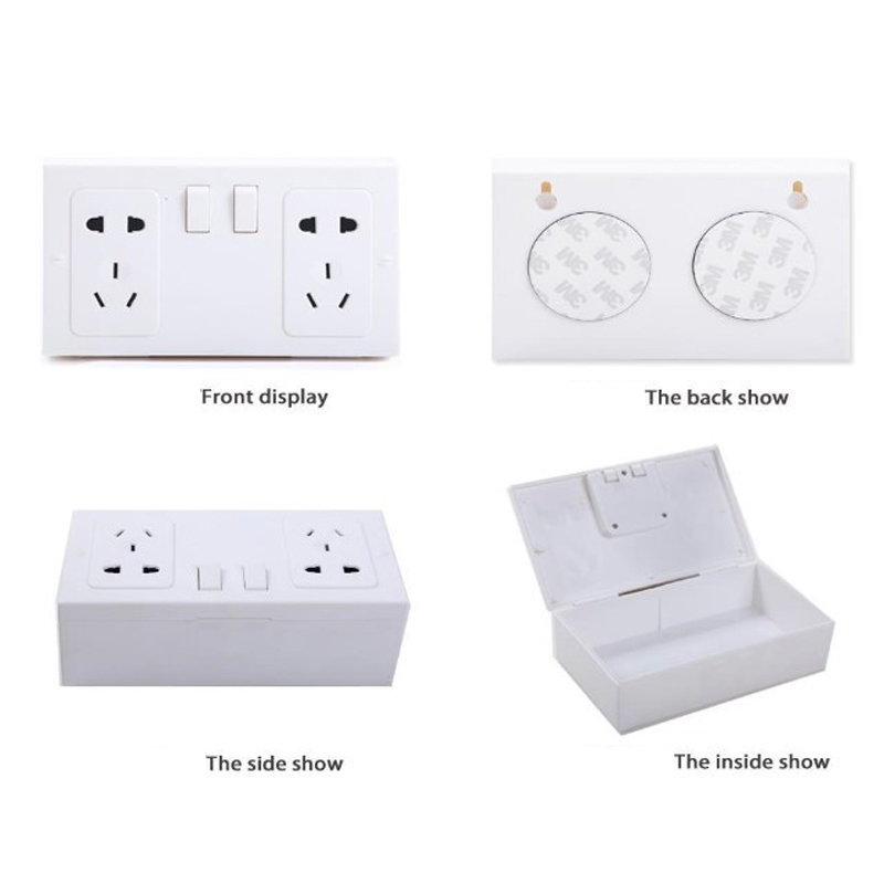 2019 New Hidden Receptacle Safe Box Valuables Safe Insurance Hidden Box EU Style Plastic White Wall Plug Secret Security Box