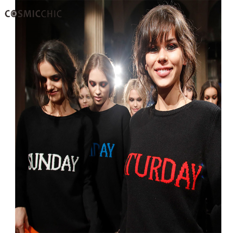 Women Fashion Week Letter Sweater black Knitting Pullover Sweaters Monday Tuesday Wendnesday Thursday Friday LY201