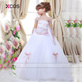 2016 Kids Evening Gowns White Girls Pageant Dress Appliques Corset Back Ball Gowns Flower Girl Dresses SA510