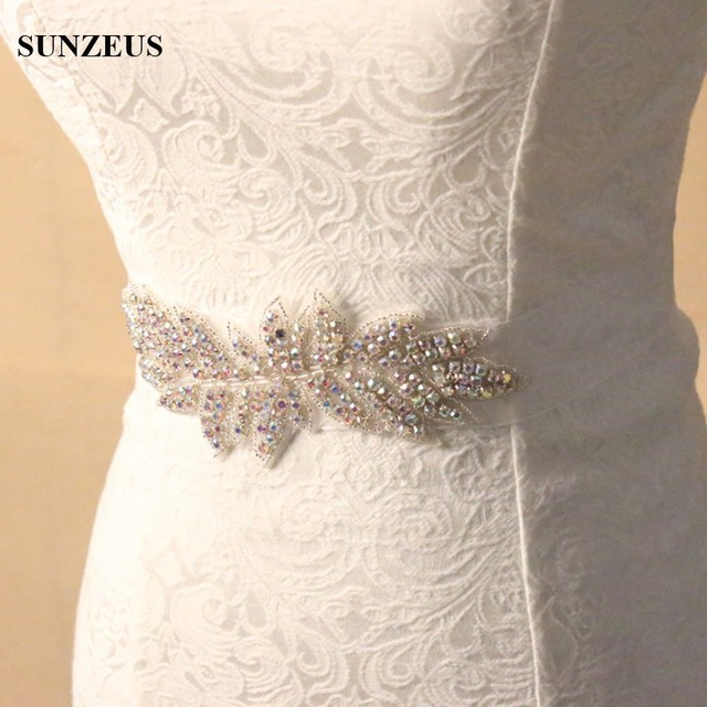 Beautiful Sparkly Colorful Beaded Bridals Belts Leaf Models Attractive Wedding Sashes for Girls S1240