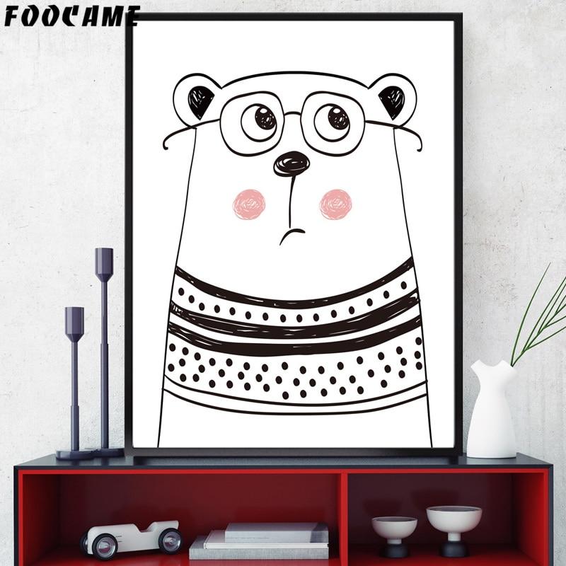 FOOCAME Cartoon Animal Bear Gewei Posters en prints Art Canvas - Huisdecoratie - Foto 3