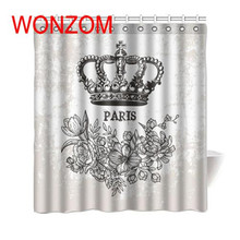 WONZOM 2017 Polyester Fabric Crown Shower Curtains with 12 Hooks For Bathroom Decor Modern 3D Bath Waterproof Curtain Gift
