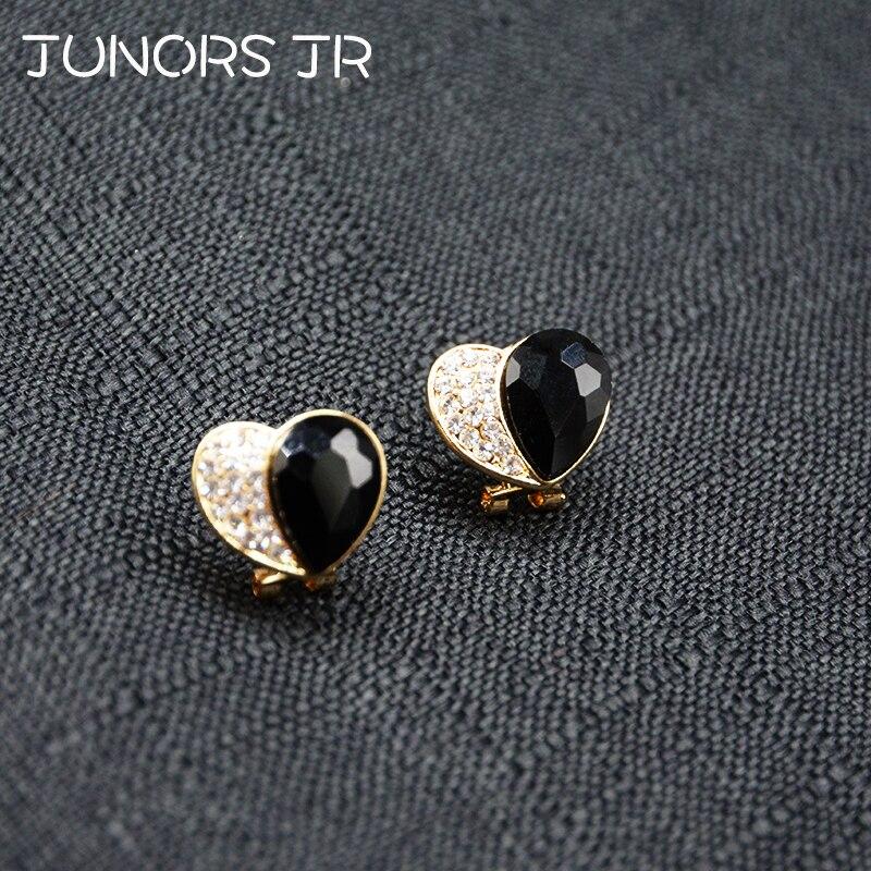 Alloy Black Resin Gold Crystal Cute Heart Stud Earrings For Girls Lovely Half Statement Earrings For Girlfriend Heart Love Gift