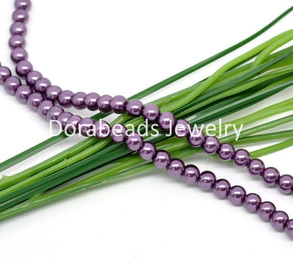 Free Shipping! 5 Strands Purple Round Glass Pearl Beads 6mm 82cmlength (B08875)