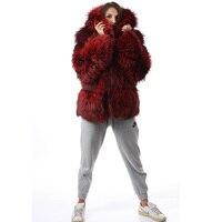 2019 Women Real Fur Coat Thick Female Winter Outwear Fashion Warm Luxury Jacket Fox Fur Red Striped Real Fox Fur Coat With Hood