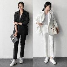 2018 New female elegant pant OL formal work wear women's long sleeve Stripe blazer with Trousers office Stripe coat suits