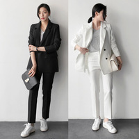 2018 New Female Elegant Pant OL Formal Work Wear Women S Long Sleeve Stripe Blazer With