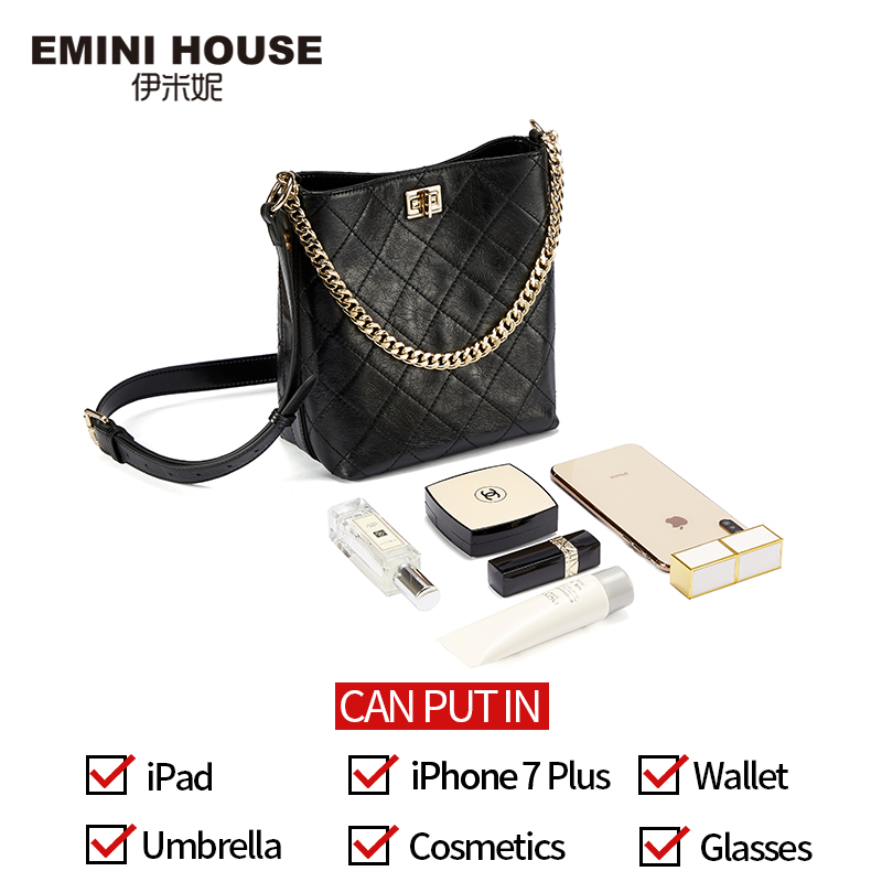 Image 4 - EMINI HOUSE Oil Wax Diamond Lattice Bucket Bag Genuine Leather Wide Strap Shoulder Bag Luxury Handbags Women Bags Designer-in Top-Handle Bags from Luggage & Bags