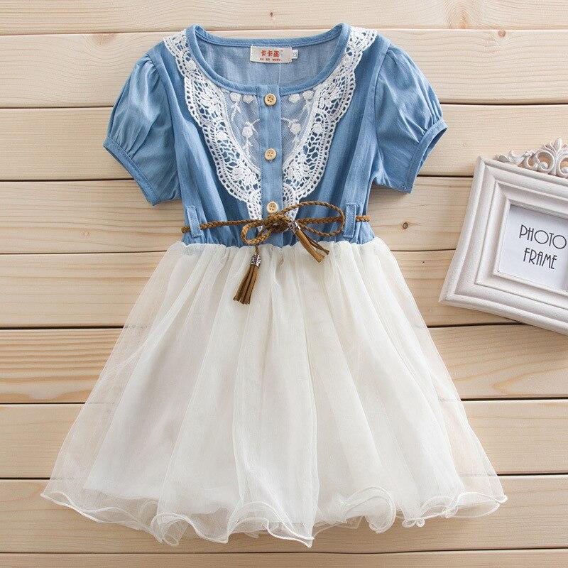 dívky šaty léto 2019 nové děti šaty pro dívky džínové příze krajka gáza princezna šaty roupas infantis menina 2-6 let