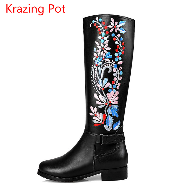 2017 Superstar Brand Flowers Embroidery Thigh High Boots Round Toe Med Heels Women Shoes Over The Knee Boots Zip Lady Boots L55 2017 superstar bird cage brand flowers