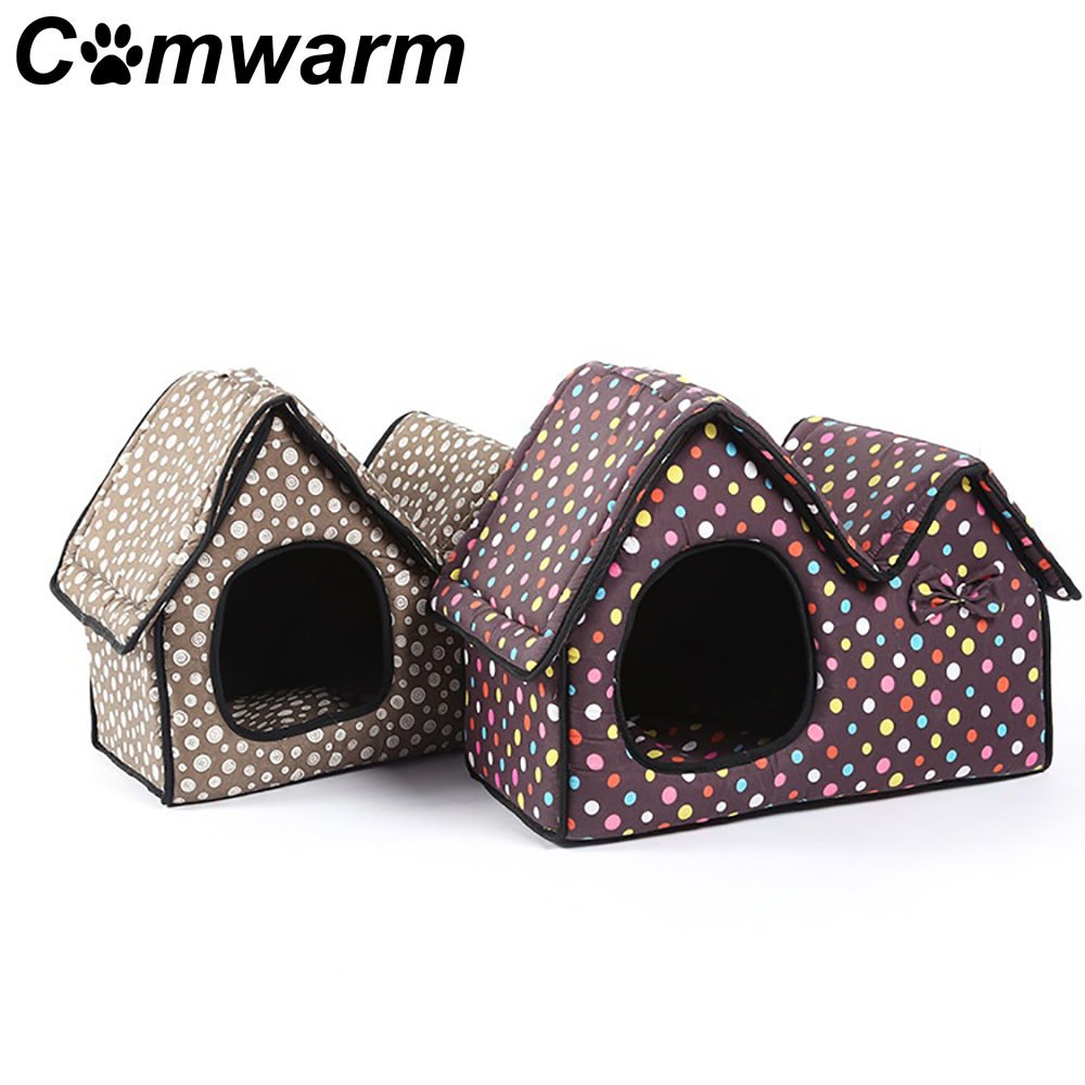 Comwarm Pet Bed Dog Cat Puppy House Double-roof Cushion Mat Soft Comfortable Removable Cover Handle Cute Sleep Gray Brown