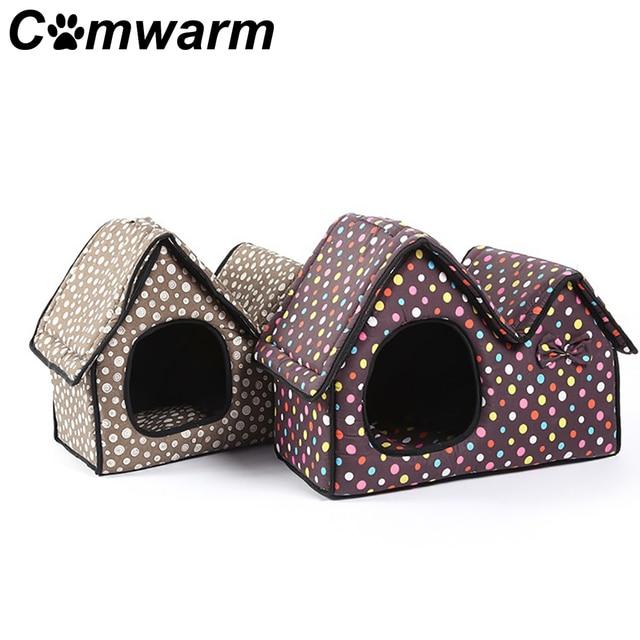 Comwarm Pet Base Del Cane del Gatto del Cucciolo Casa Doppia-tetto Cuscino Zerbi