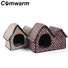 Comwarm Pet Bed собака кошка щенок Дом Двойной Крышей Подушки Коврики мягкая удобная съемная крышка ручка милый сон серый коричневый