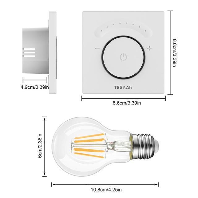 Teekar Smart Light Dimmer EU Standard Wifi Switch Light Switch Touch APP Remote Control Work with Alexa Include LED Bulb 1