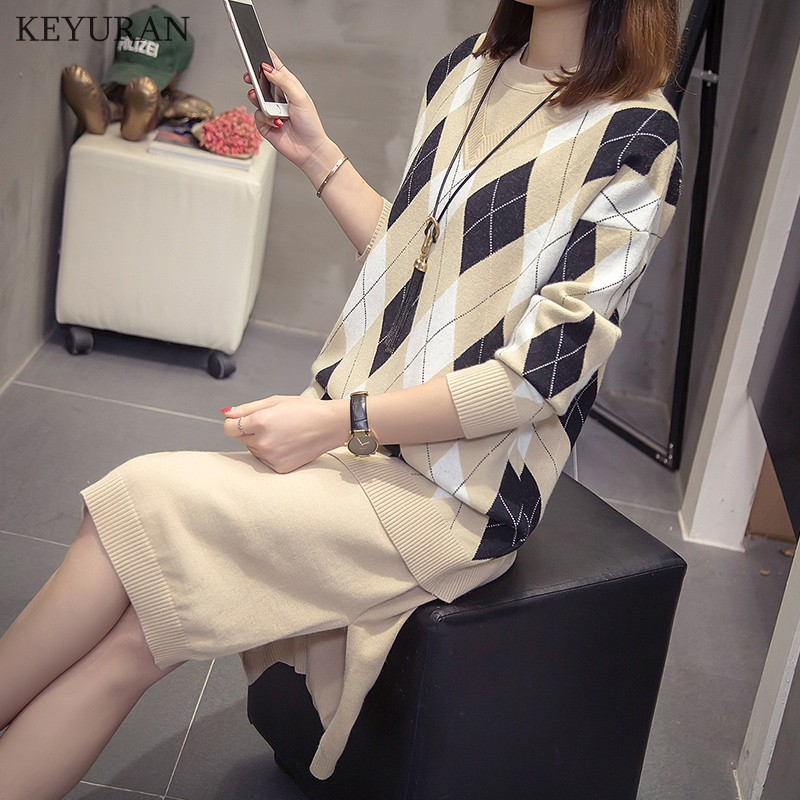 Two Pieces Set Autumn Winter O-Neck Loose Pullovers And Knitted Vest Dress