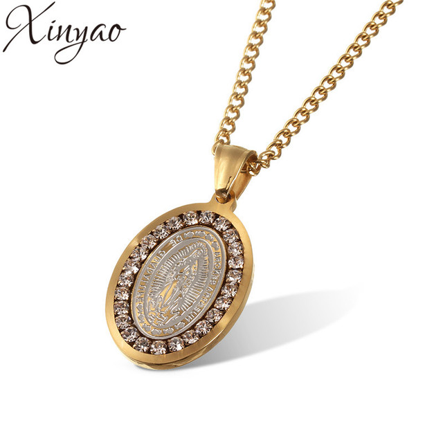 Xinyao 2017 crystal jesus piece pendant necklace for men women xinyao 2017 crystal jesus piece pendant necklace for men women stainless steel gold coin chain necklace aloadofball Choice Image