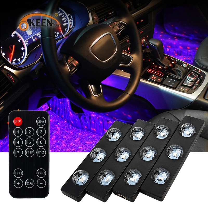 OKEEN Car Styling LED Decorative Atmosphere Lamps Colorful Star Lights Universal Auto Interior Seat Bottom Light With USB Remote