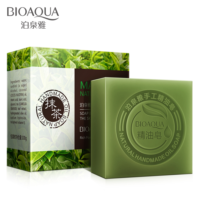 BIOAQUA Natural Green Tea Essential Oils Handmade Soap Whitening Skin Remove Acne Cleaning Dirt Anti Aging Men/women Skin Care image