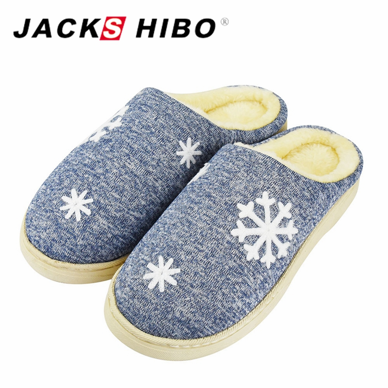 JACKSHIBO Winter Home Slippers Men Footwear Comfortable House Indoor Slippers with Fur Snowflake Pattern Male Slipper Warm Shoes plush winter slippers indoor animal emoji furry house home with fur flip flops women fluffy rihanna slides fenty shoes