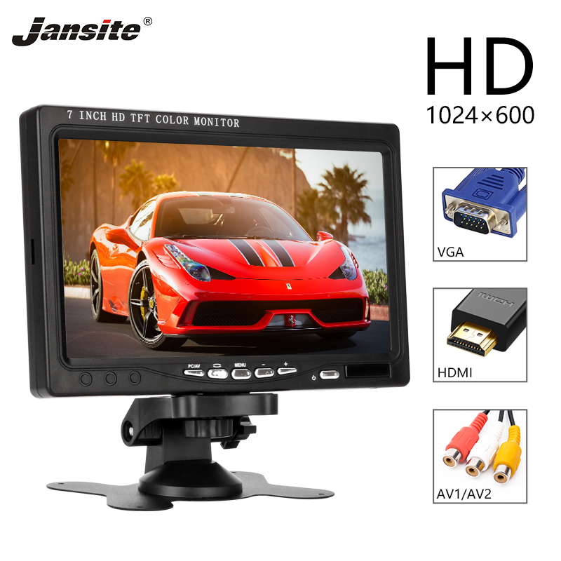 Jansite 7 inch HD Car monitor IPS Parking assistance Remote Operating Two video inputs 12 24V