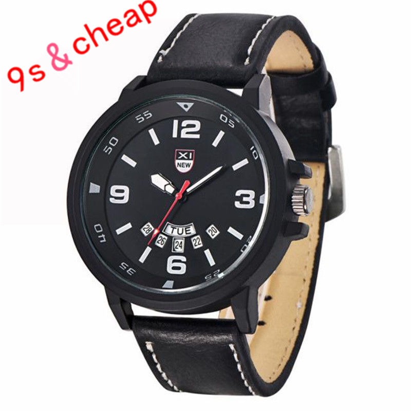 Men's Leather Band Watches Military Sport Analog Quartz Date Wrist Watch Brand New High Quality Luxury Free Shipping #180717