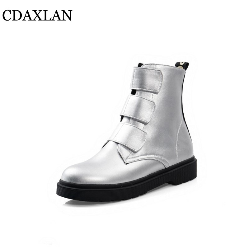 CDAXILAN new to womens short boots leatherette fabric platform hook& loop low-heels Martin ladies shuit in autumn winter