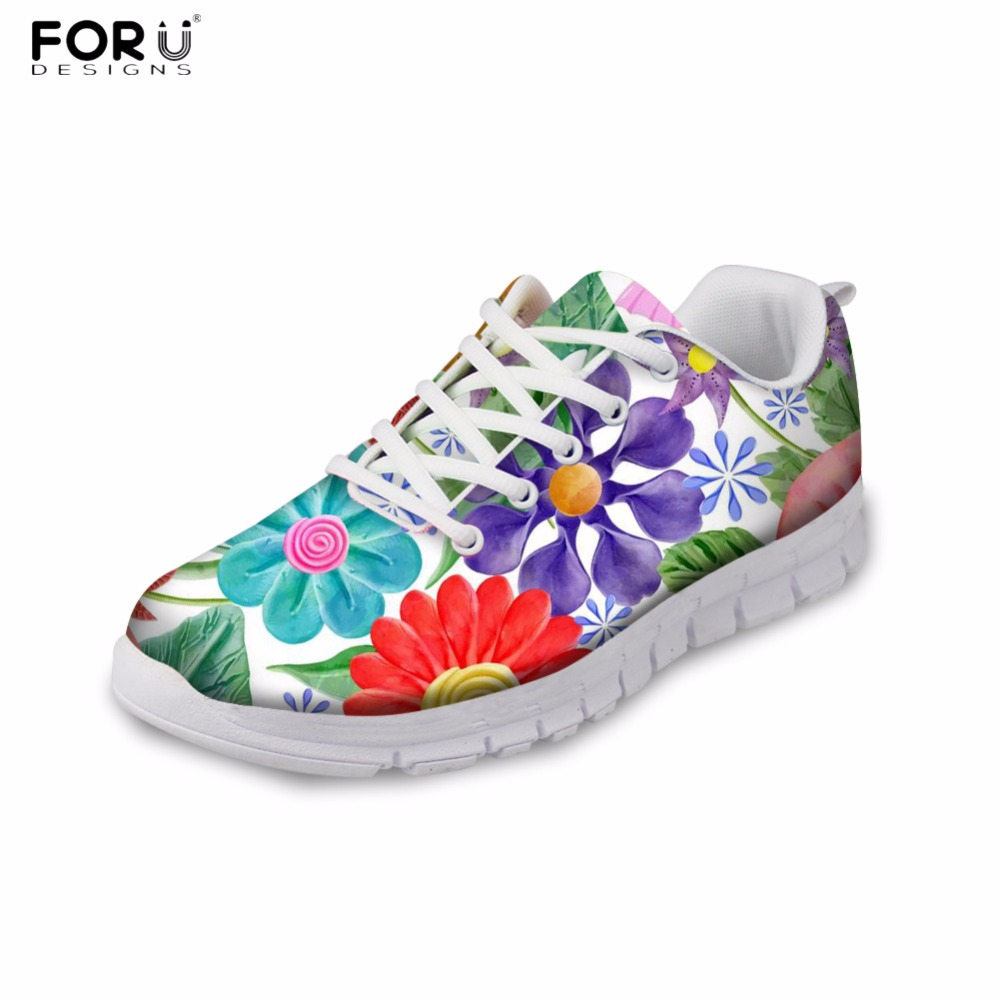 FORUDESIGNS Women Casual Sneakers 3D Flower Printed Women's Flat Autumn Winter Breathable Shoes Flats Female Leisure Zapatos проводной телефон panasonic kx ts 2382ruw