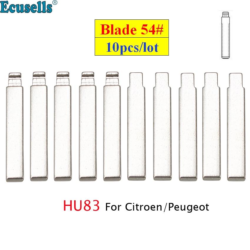 10 шт./лот универсальный ключ лезвие 54 # откидной автомобильный ключ чистый № 54 HCA/HU83 откидной ключ лезвие с канавками для Citroen для Peugeot