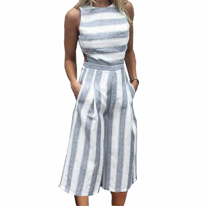 Striped Womens Sleeveless Jumpsuits Casual Boho Beach Wide Leg Pants Rompers Jumpsuit Pockets Female Plus Size Overalls GV363
