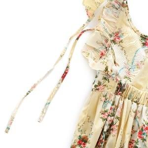 Image 4 - Flofallzique Marke Baumwolle Floral Druck Baby Mädchen Overall Sommer Strampler Outfits Elastische Taille Kleinkind Kinder Kleidung 1 6Yrs