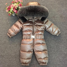 2019 Newborn Baby 90% White Duck Down Rompers Brand Winter Warm Clothes Boys Hoodie Big Nature Fur Jumpsuit Parka Snow Wear