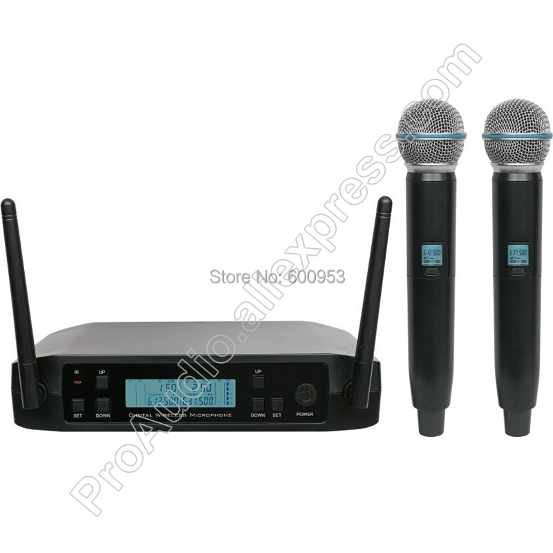 MICWL UHF 2 Channel Wireless Two Dynamic Handheld Microphone System Frequency Adjustable Perfect For Stage Karaoke Church Club high end uhf 8x50 channel goose neck desk wireless conference microphones system for meeting room